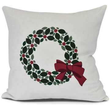 Holly Wreath Floral Print Pillow