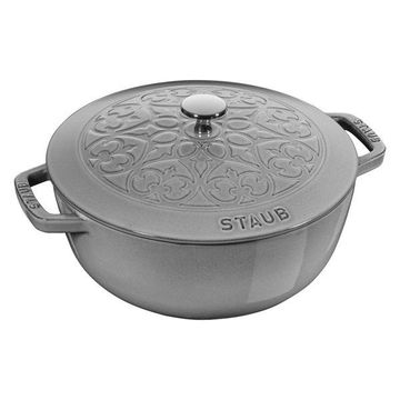 Staub Cast Iron 3.75-Quart Essential French Oven with Lilly Lid, Graphite Gray