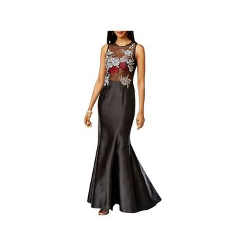 Xscape Womens Trumpet Dress Embroidered Embellished