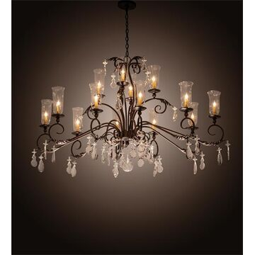 203867 60 in. Long Windsor Oblong Chandelier, Mahogany Bronze Clear Hurrican - Pack of 14
