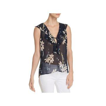Paige Womens Danae Blouse Silk Floral Print
