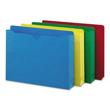 Smead Colored File Jackets w/Reinforced 2-Ply Tab Letter Assorted Colors 50/Box