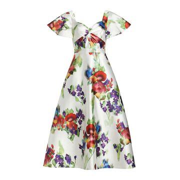 THEIA Printed Mikado Tea Dress