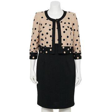 Plus Size Danny & Nicole 2-piece Jacket & Dress Set, Women's, Size: 14 W, Beig/Green