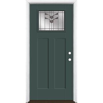 Masonite Frontier 36-in x 80-in Fiberglass Craftsman Left-Hand Inswing Evergreen Painted Prehung Single Front Door with Brickmould