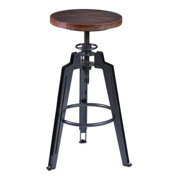 Armen Living Tribeca Industrial Grey Finish with Pine Wood Seat Adjustable Bar Stool (Single - Brown - Adjustable)