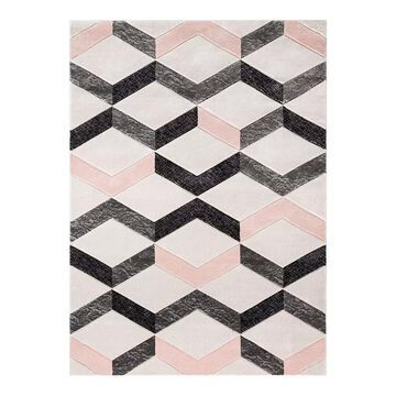 Well Woven Good Vibes Millie Modern Geometric 3D Textured Area Rug, Pink, 8X10.5 Ft