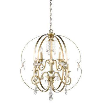 Golden Lighting Ella 9-Light White Gold Glam Crystal Chandelier   1323-9 WG