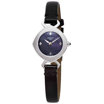 Tissot Femini-T Mother of Pearl Dial Ladies Black Leather Watch