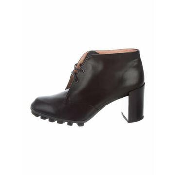 Leather Lace-Up Boots Black