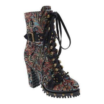Penny Loves Kenny Women's Frier Treaded Boot Black Baroque Fabric