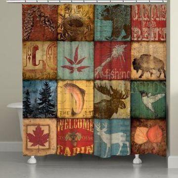 Laural Home Lodge Patch Shower Curtain