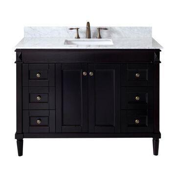 Virtu USA Tiffany 48-in Espresso Undermount Single Sink Bathroom Vanity with Italian Carrara White Marble Top in Brown