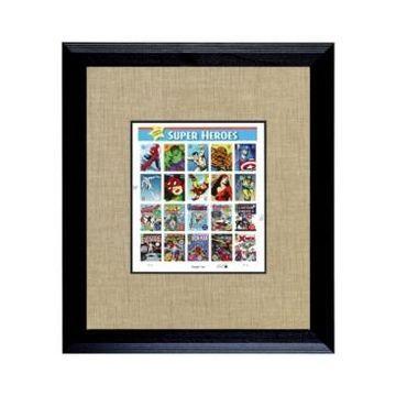 American Coin Treasures Super Heroes 2 U.s. Stamp Sheet in Wood Frame, 16