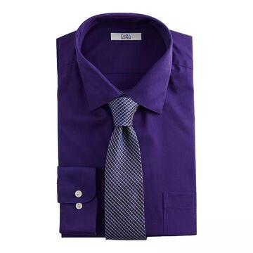 Big & Tall Croft & Barrow Stretch Collar Dress Shirt and Patterned Tie Boxed Set, Men's, Size: LT 36/37, Purple