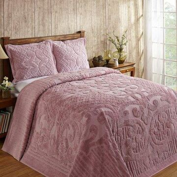 Better Trends Ashton Collection Full/Double Bedspread, Medallion Design, 100% Cotton, Pink