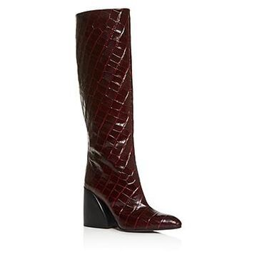 Chloe Women's Wave Croc-Embossed Block-Heel Boots