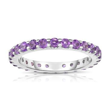 Noray Designs 14K White Gold Amethyst Eternity Ring (1.35 cttw) - Purple