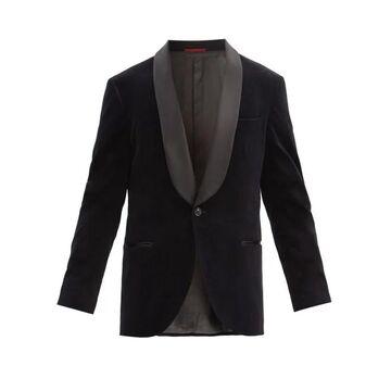 Brunello Cucinelli - Shawl-lapel Cotton-velvet Dinner Jacket - Mens - Black
