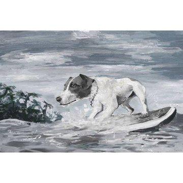 Parvez Taj Surfing Dog Canvas Wall Art