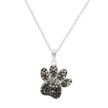 Hue Sterling Silver Crystal Dog Paw Print Pendant Necklace