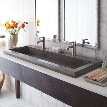 Trough 48-inch NativeStone Undermount/ Drop-in Double Bathroom Sink - 48