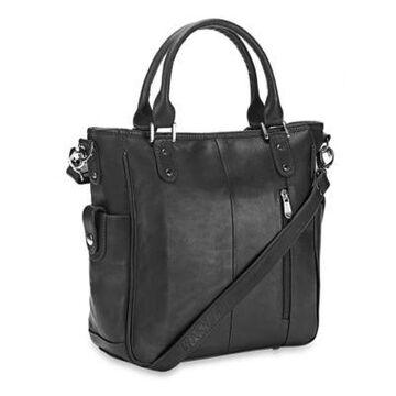 Piel Leather Tablet Shoulder Bag in Black