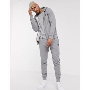 Armani EA7 Core ID rubberised logo hoodie in grey-Gray