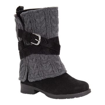 MUK LUKS Women's Nikita Mid Calf Boot Black/Grey Polyester/Synthetic