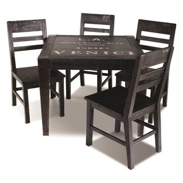 Sunset Trading 5-Piece Graphic Square Dining Set