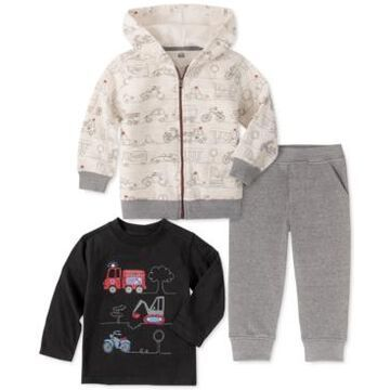 Kids Headquarters Baby Boys 3-Pc. Zip-Up Hoodie, Truck-Print T-Shirt & Jogger Pants