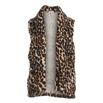 Derek Heart Women's Open Cardigans BEIGE - Beige Cheetah Print Plush Waterfall Vest - Juniors