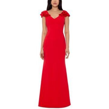 Betsy & Adam Ruffled-Shoulder Gown