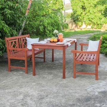 Vifah Malibu 3-Piece Rectangular Outdoor Dining Set in Cherry
