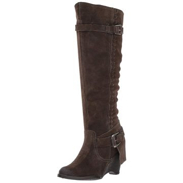 Naughty Monkey Womens Double Up Suede Almond Toe Knee High