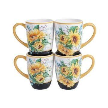 Certified International Sunflower Fields 4-Pc. Mugs