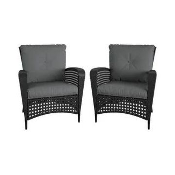COSCO Outdoor Living Lakewood Ranch Steel Woven Wicker Lounge Chairs with Cushions (Set of 2 Chairs)
