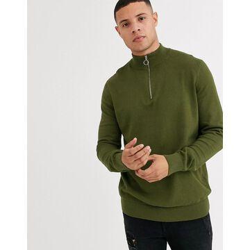 New Look half zip sweater in khaki-Green