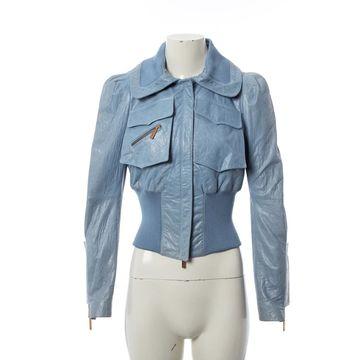 John Galliano Blue Leather Jackets