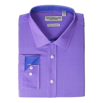 Nick Graham Dot Print Stretch Dress Shirt (Purple) Men's Clothing