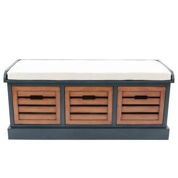 Decor Therapy Melody 3-Drawer Storage Bench, Blue