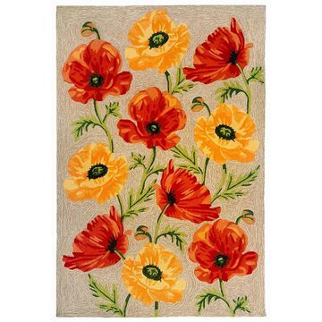 Liora Manne Ravella Icelandic Poppies Indoor/Outdoor Rug Neutral (5' x 7'6