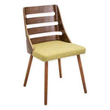 LumiSource Trevi Mid-Century Modern Accent Chair in Walnut/Green
