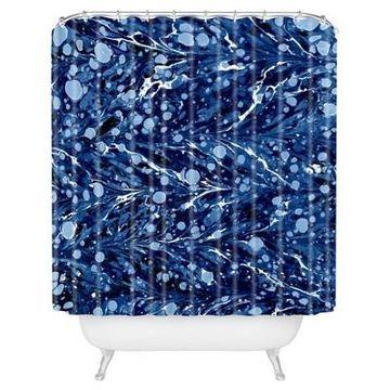 Fleck Circle Shower Curtain Blue - Deny Designs