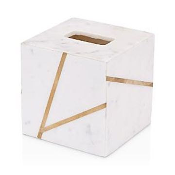 Kassatex Marble Brass Tissue Box Cover