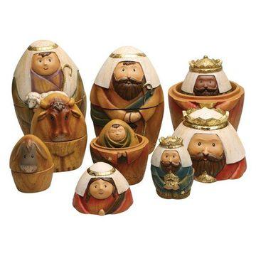 Roman Nesting Dolls Nativity Set - 9 Piece Christmas Holiday Decor Set