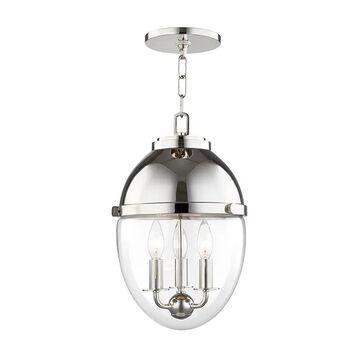 "Hudson Valley Kennedy 3-Light 17"" Pendant Light in Polished Nickel"