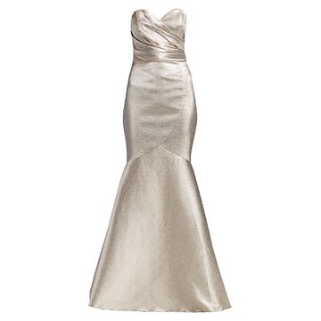 Metallic Strapless Stretch Lame Mermaid Gown