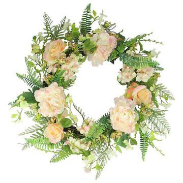 """24"""" Pink & Green Rose & Peony Floral Artificial Spring Wreath By Northlight 