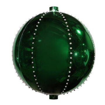 Alpine Corporation Hanging Christmas Ball Ornament with LED Lights, Green